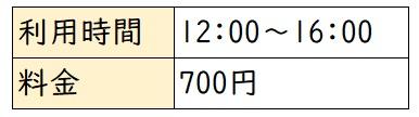 利用時間12:00~16:00 料金700円