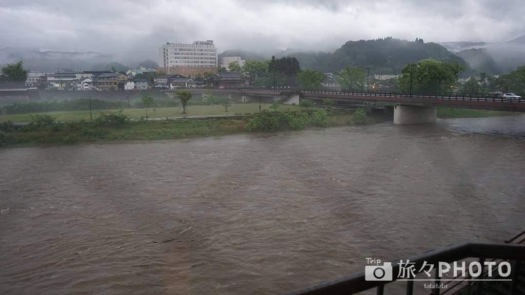 球磨川増水時