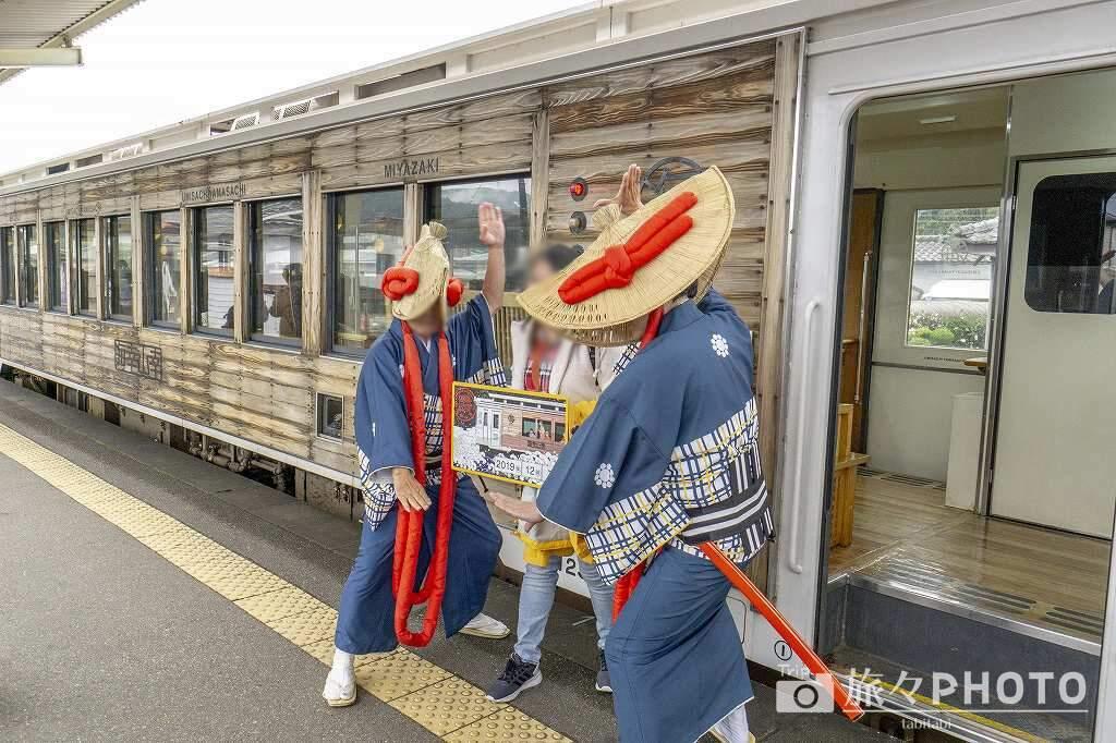 海幸山幸 飫肥駅での記念撮影