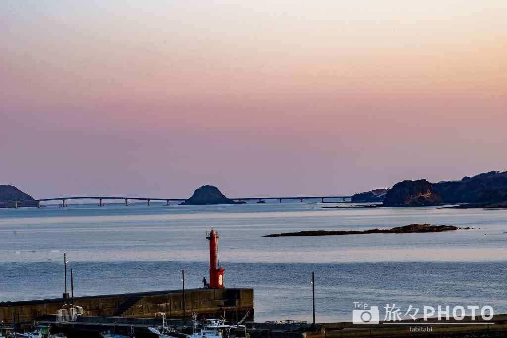 道の駅ほうほくから見える角島大橋