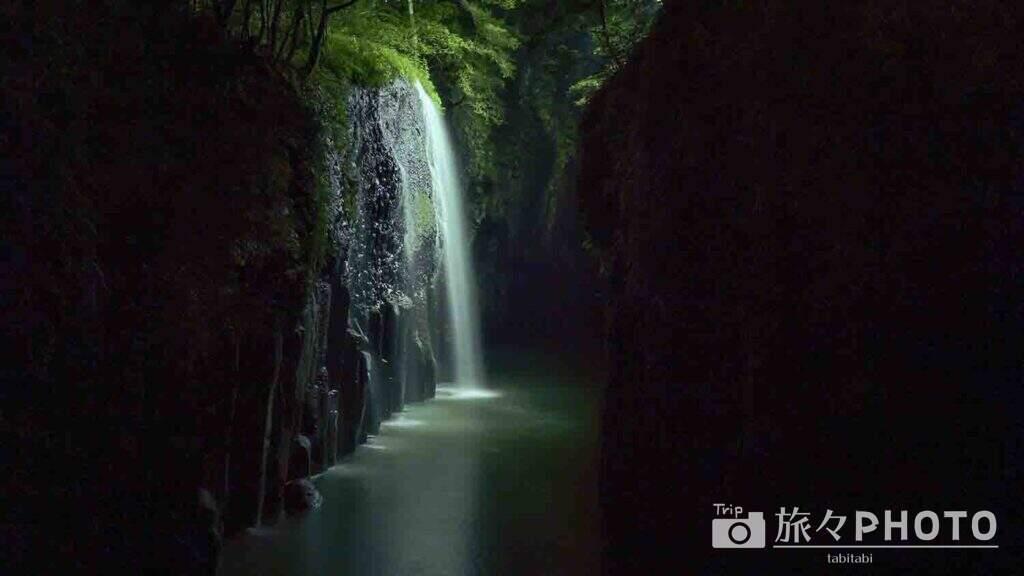 高千穂峡のライトアップ