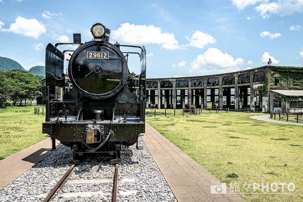 豊後森機関庫の蒸気機関車