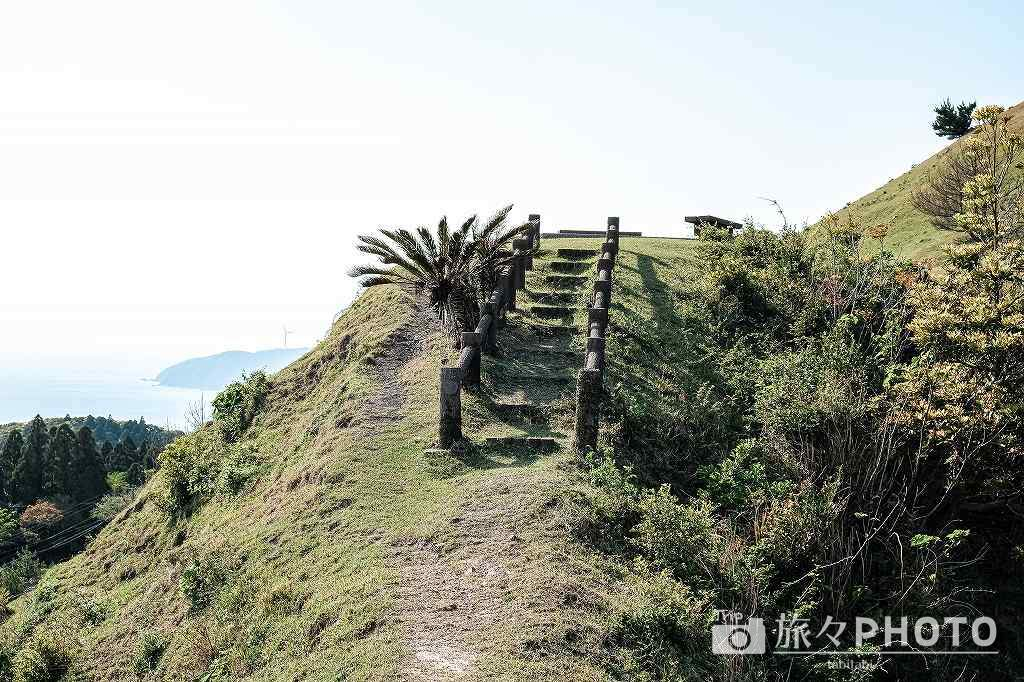 都井岬の扇山の展望台への道