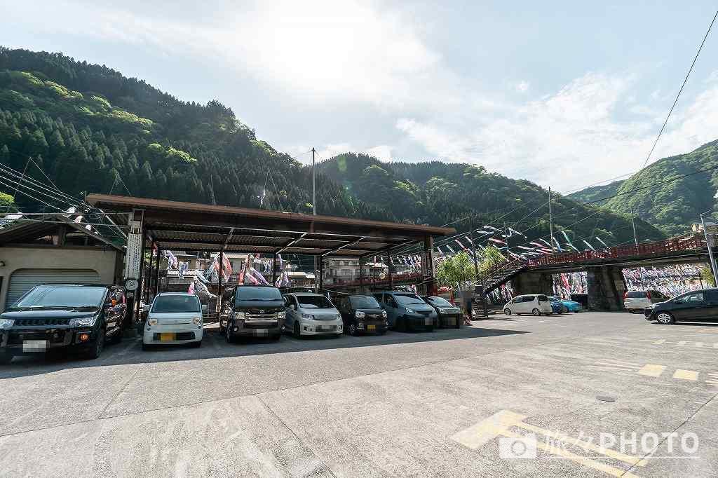 杖立温泉の駐車場